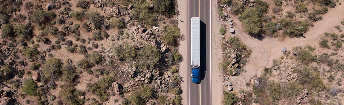 Aerial view from a lonely trucker